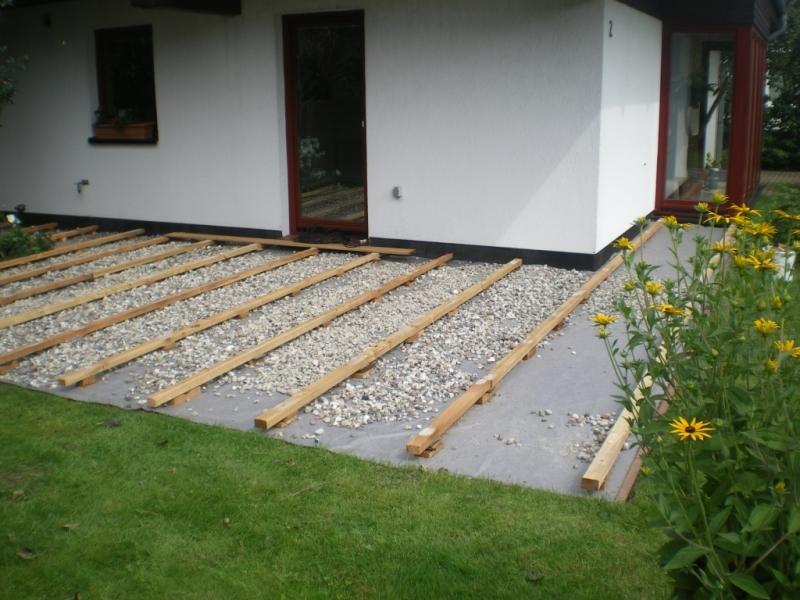 Vorbereitung Terrassenbelag Bangkirai